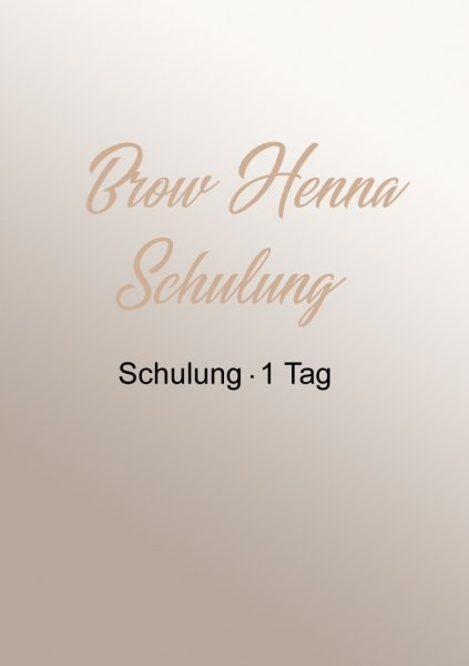 Brow Henna Schulung | 1 Tag